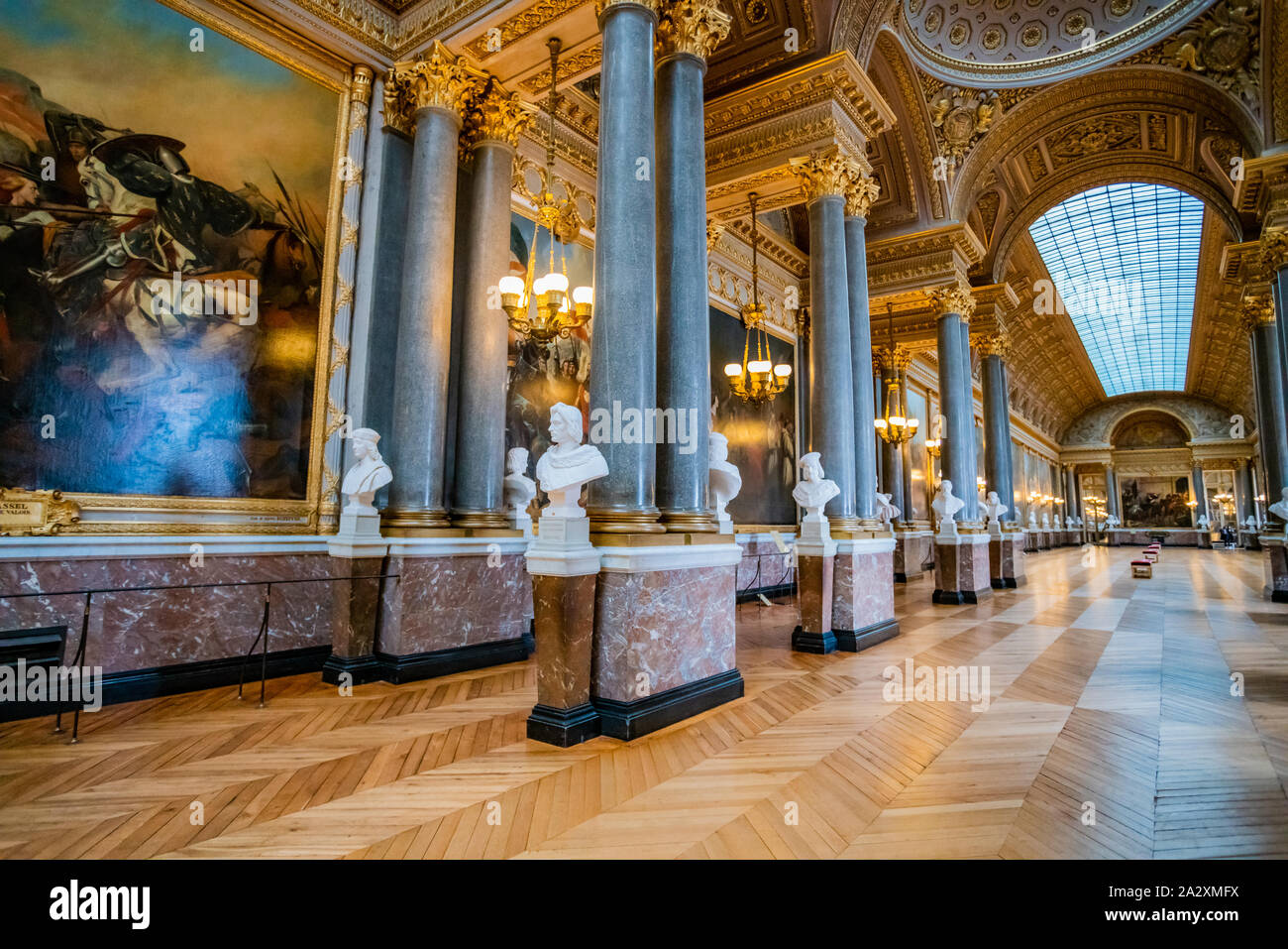 VERSAILLES, FRANCE - February 14, 2018 :The Battle Gallery in the southern wing of Palace of Versailles, the residence of the sun king Louis XIV Stock Photo