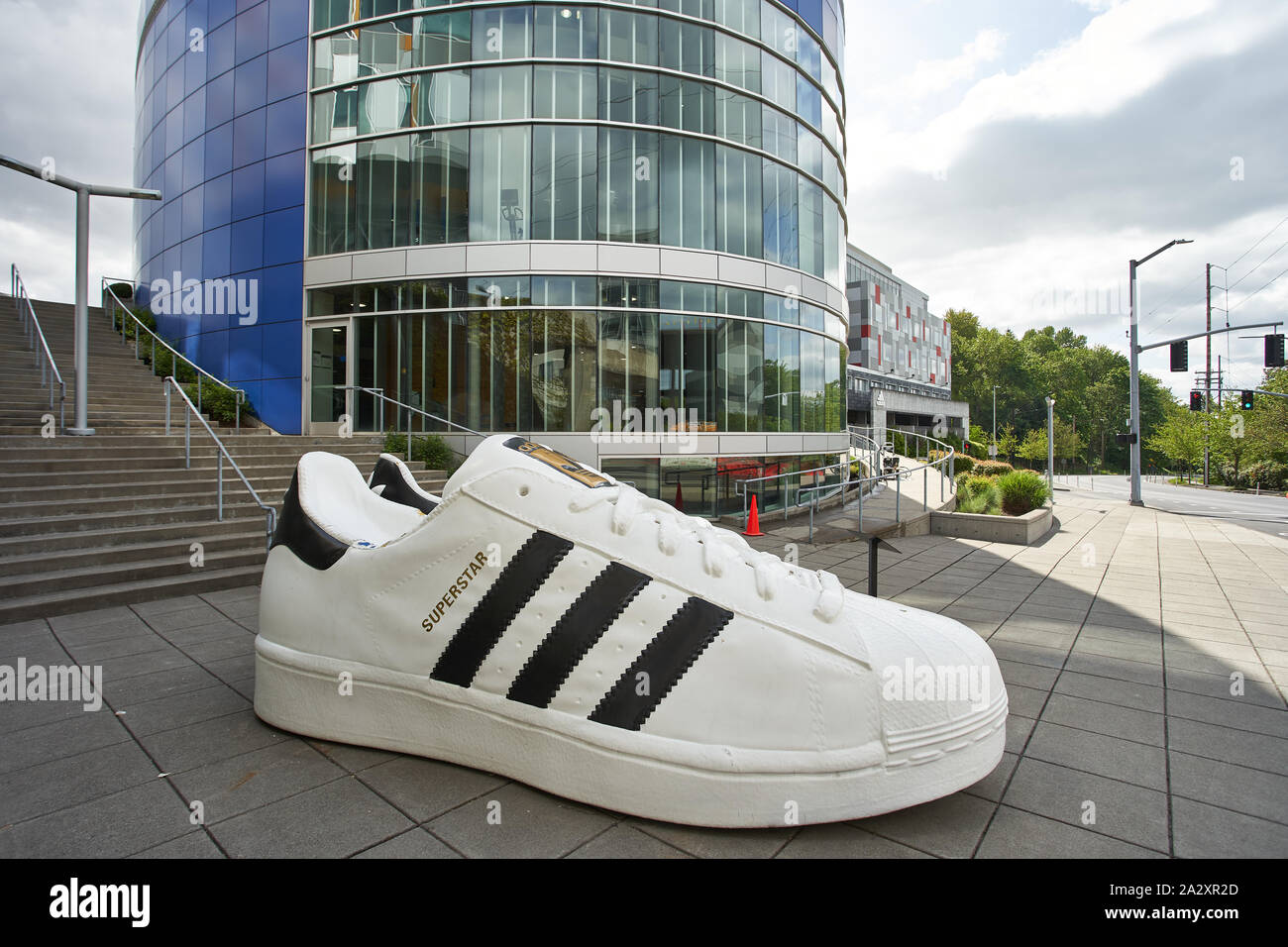 Embajador pureza sacerdote  Giant Adidas shoes are seen at the entrance to Adidas America Inc., the  North American Headquarters on May 2, 2019 Stock Photo - Alamy