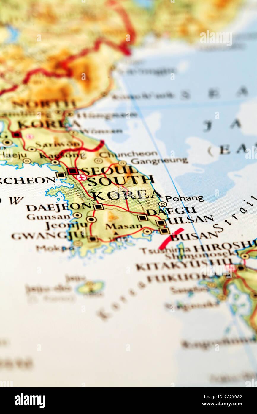 Image of: Seoul South Korea On Atlas World Map Stock Photo Alamy