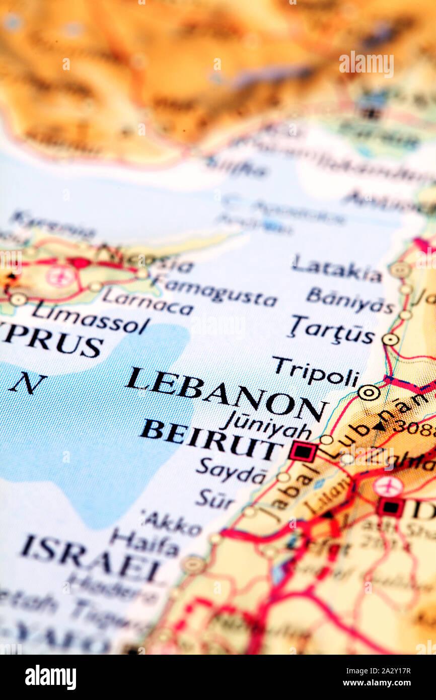 Lebanon On Atlas World Map Stock Alamy
