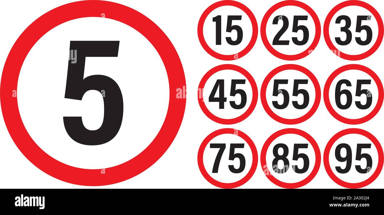 Traffic speed sign set, isolated background, vector and illustration Stock Vector