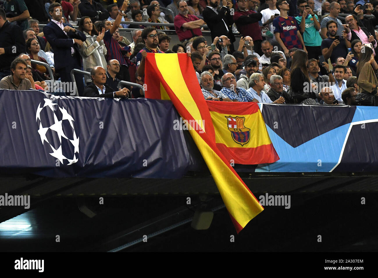 Spanish Flag During The Match Fc Barcelona V Juventus Fc Of Uefa Womens Champions League 2019