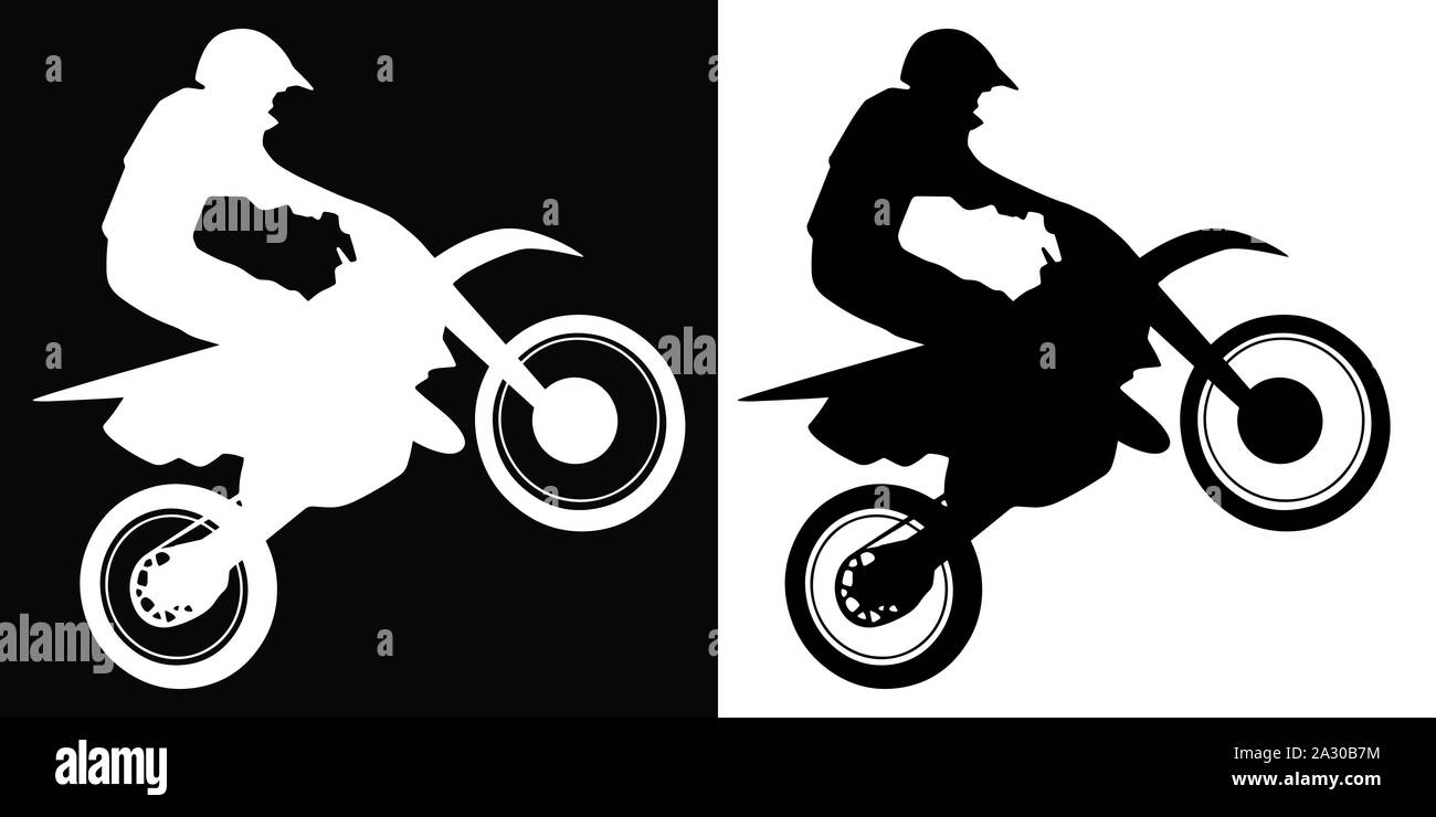 Motocross Rider and Motorcycle Silhouette Isolated Vector Illustration Stock Vector