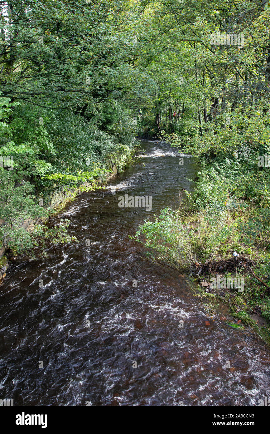 View of the River Holme running through the centre of Holmfirth, a small town in West Yorkshire famed for the Last of the Summer Wine BBC sitcom Stock Photo