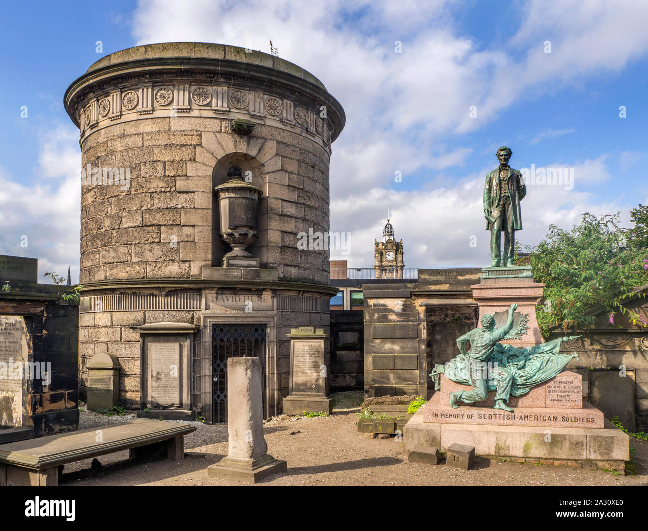 David Hume and Scottish American Soldiers monuments at Old Calton Burial Ground at Calton Hill Edinburgh Scotland Stock Photo