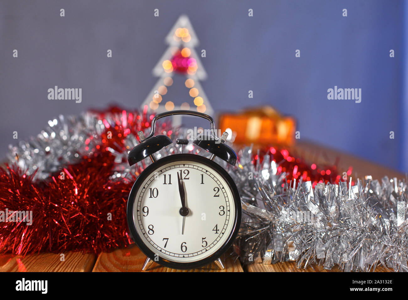 Christmas Alarm Clock With Pine Branches And Decorations Christmas Timer Time To Celebrate Stock Photo Alamy