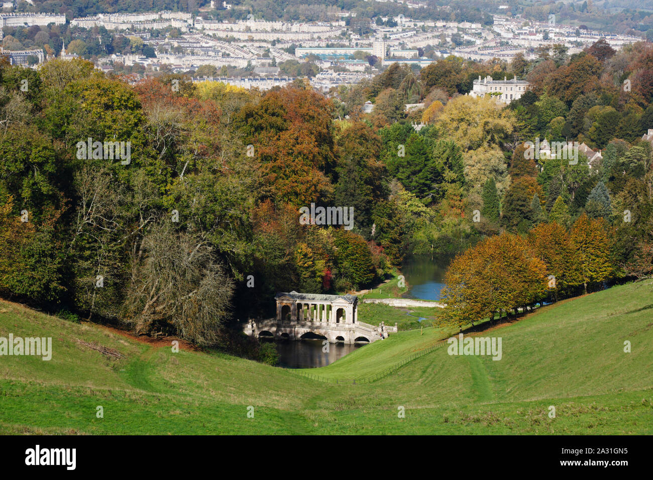 Prior Park Landscape Garden with the city of Bath in the distance. Bath. UK. Stock Photo
