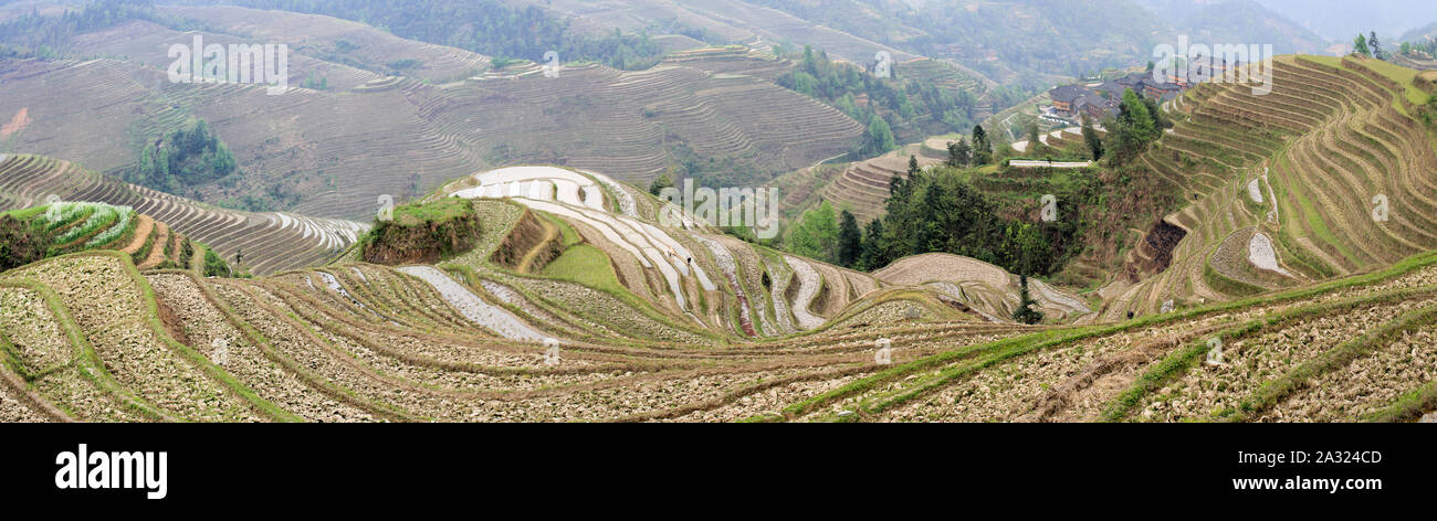Famous View at the Longshen Rice Terraces Stock Photo