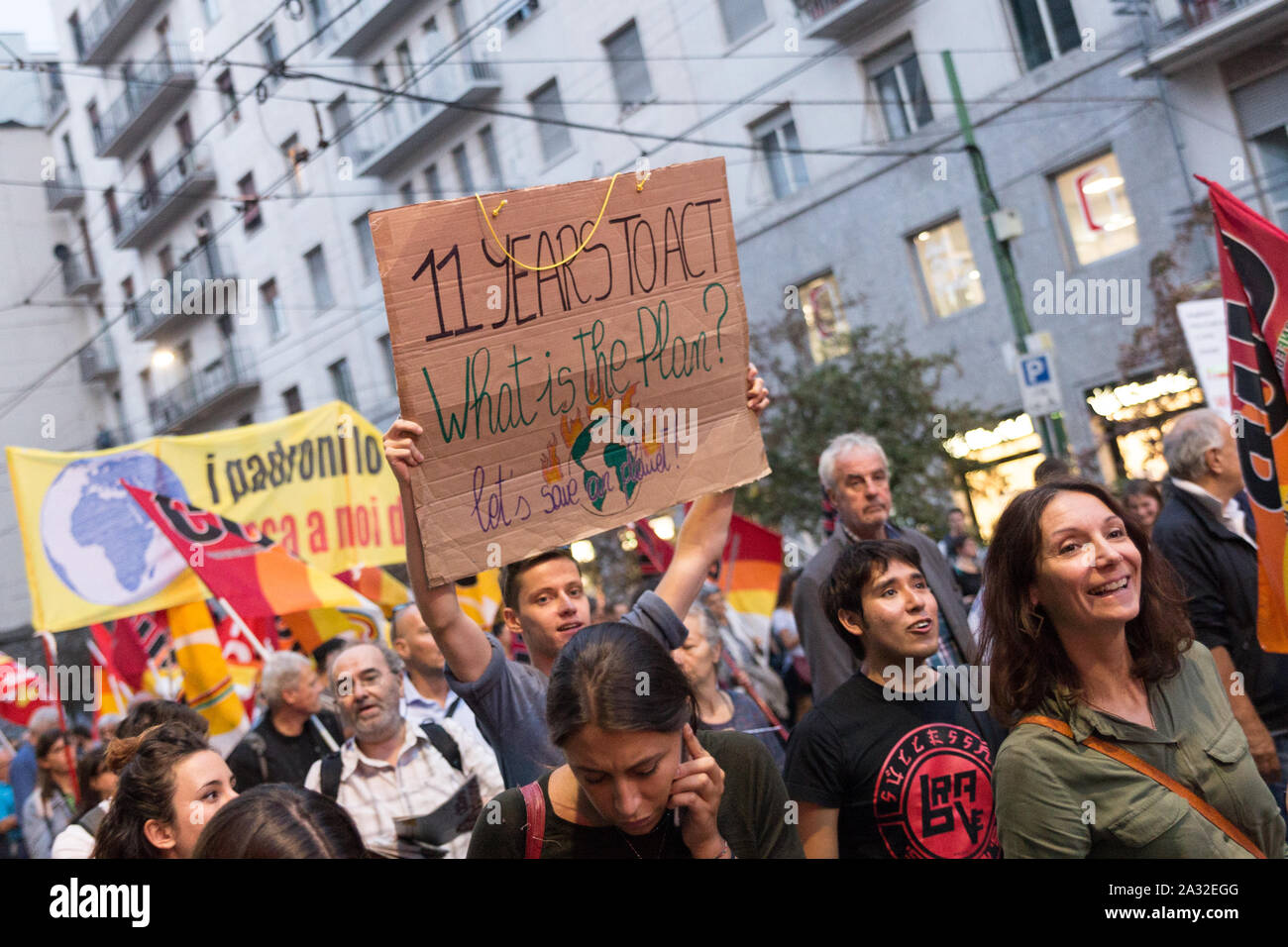 Milan,Italy - 27 September, 2019: Milano Duomo Square, Global strike for climate change. Students voice their friday for future, with Greta Thunberg Stock Photo