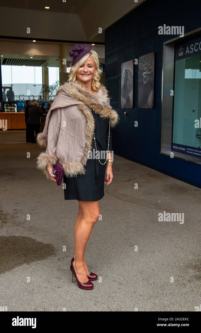 Autumn Racing Weekend & Ascot Beer Festival, Ascot Racecourse, Ascot, Berkshire, UK. 4th October, 2019.  Lisa Gowning from Essex. Credit: Maureen McLean/Alamy Stock Photo