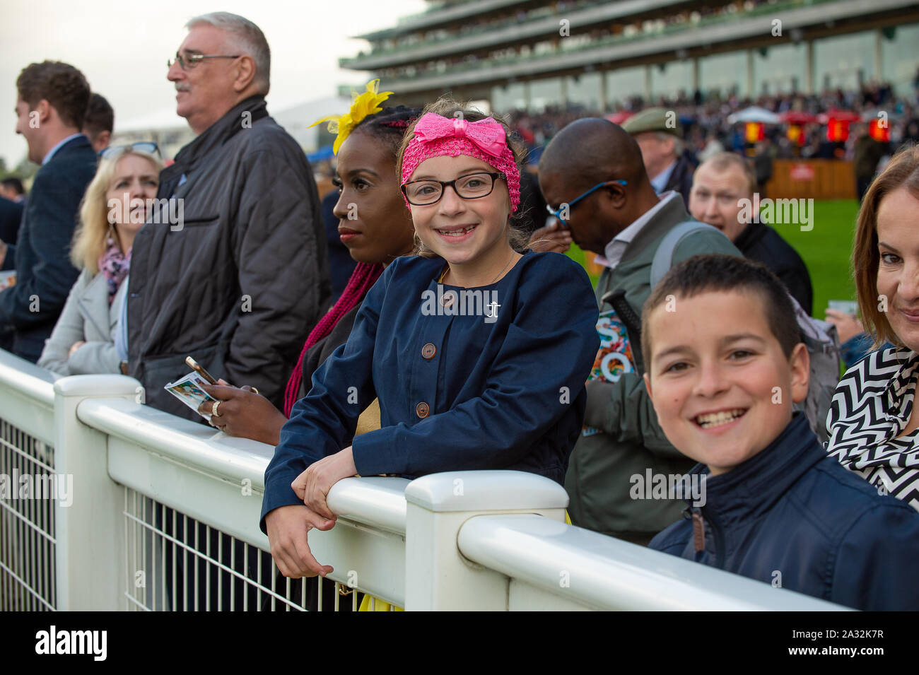 Autumn Racing Weekend & Ascot Beer Festival, Ascot Racecourse, Ascot, Berkshire, UK. 4th October, 2019. Children enjoying their day at the races. Credit: Maureen McLean/Alamy Stock Photo