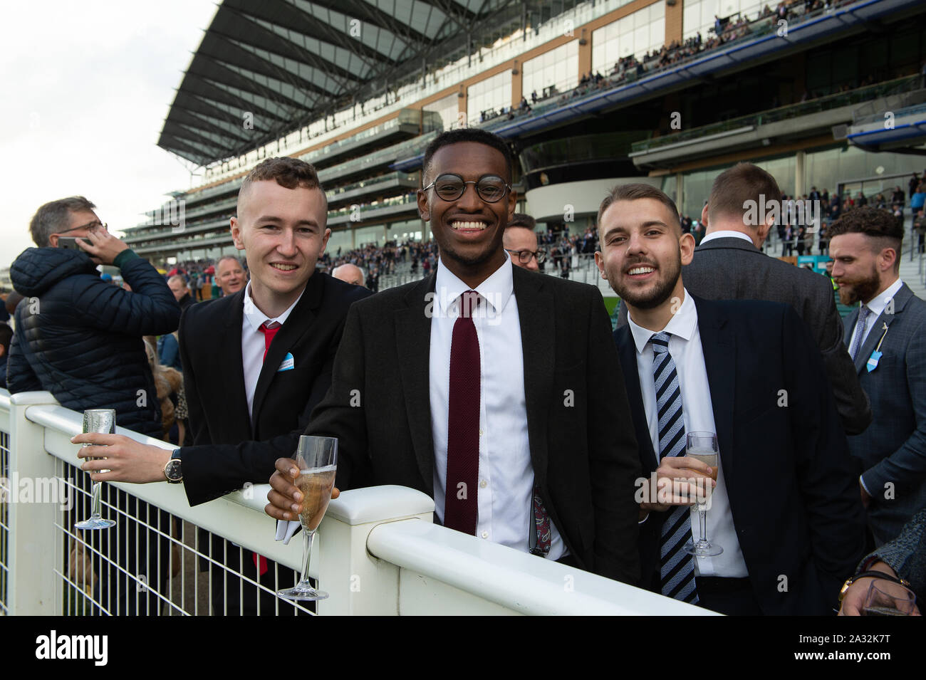 Autumn Racing Weekend & Ascot Beer Festival, Ascot Racecourse, Ascot, Berkshire, UK. 4th October, 2019. A boys day out. Credit: Maureen McLean/Alamy Stock Photo