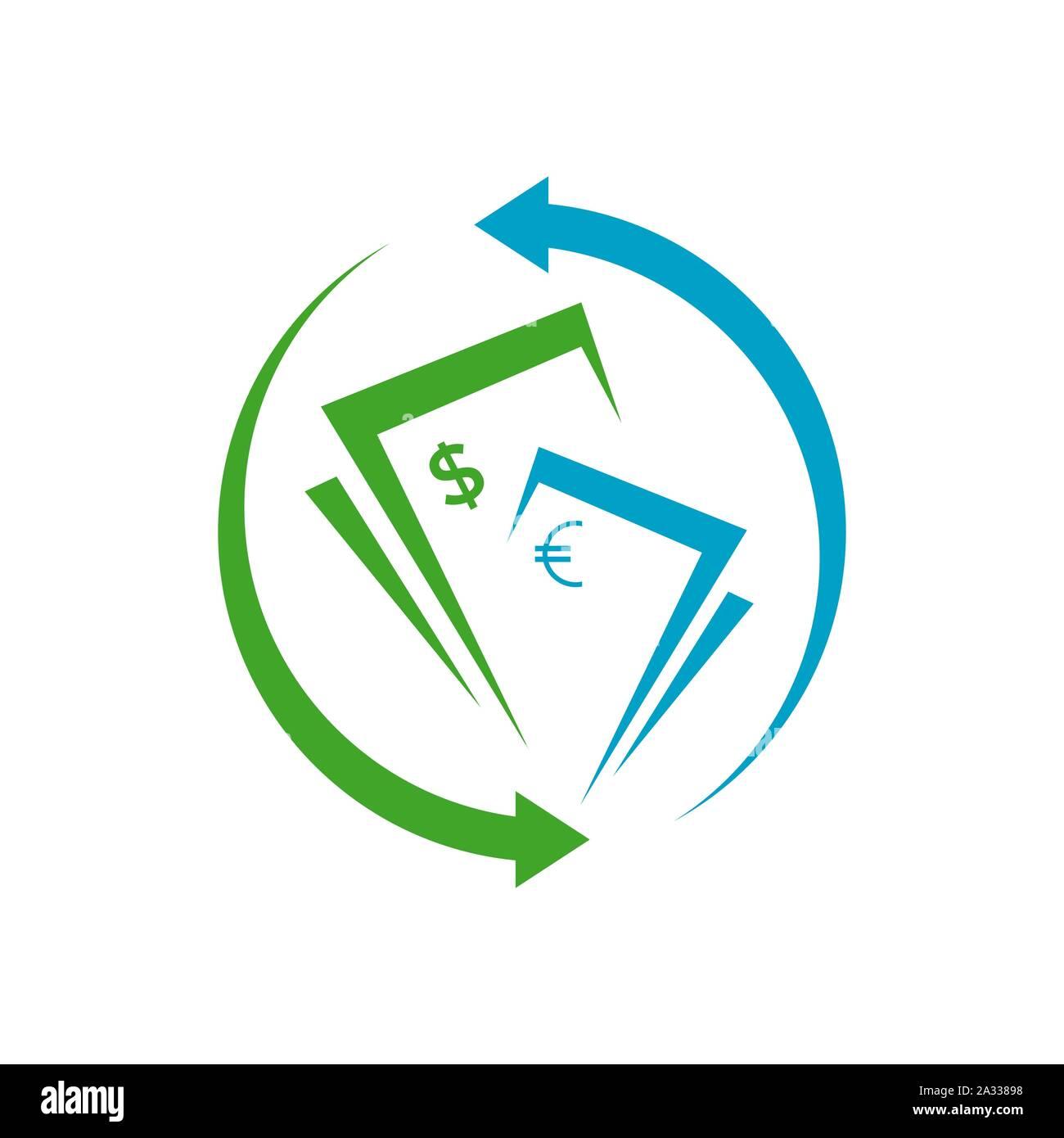 simple money transfer logo vector concept design icon ...
