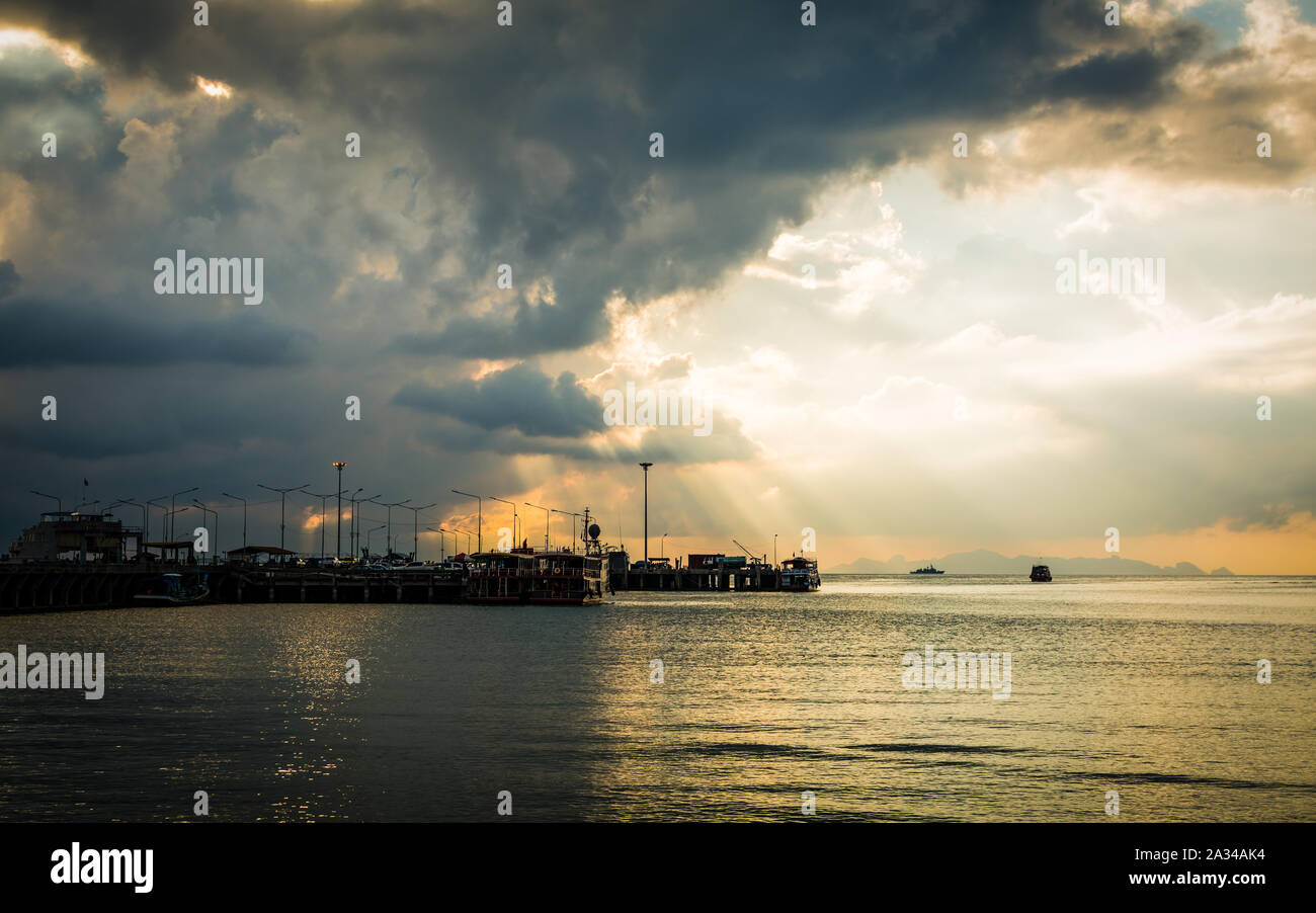 Scenery at seaport with cloudy sky in Koh Samui, Thailand Stock Photo