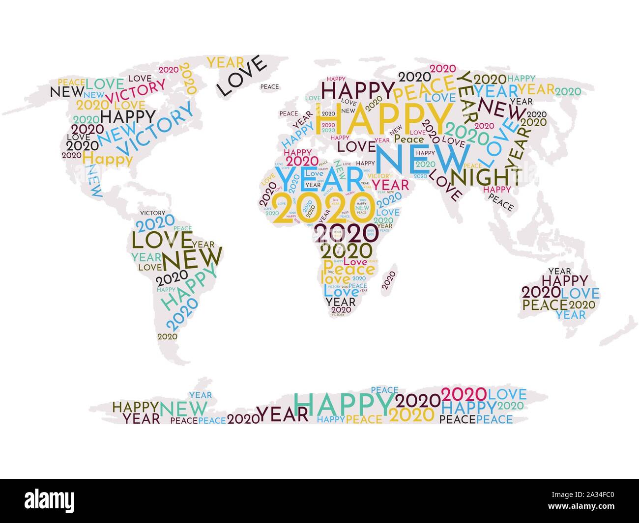 carte du monde 2020 World map in word cloud Happy New Year 2020! Stock Photo