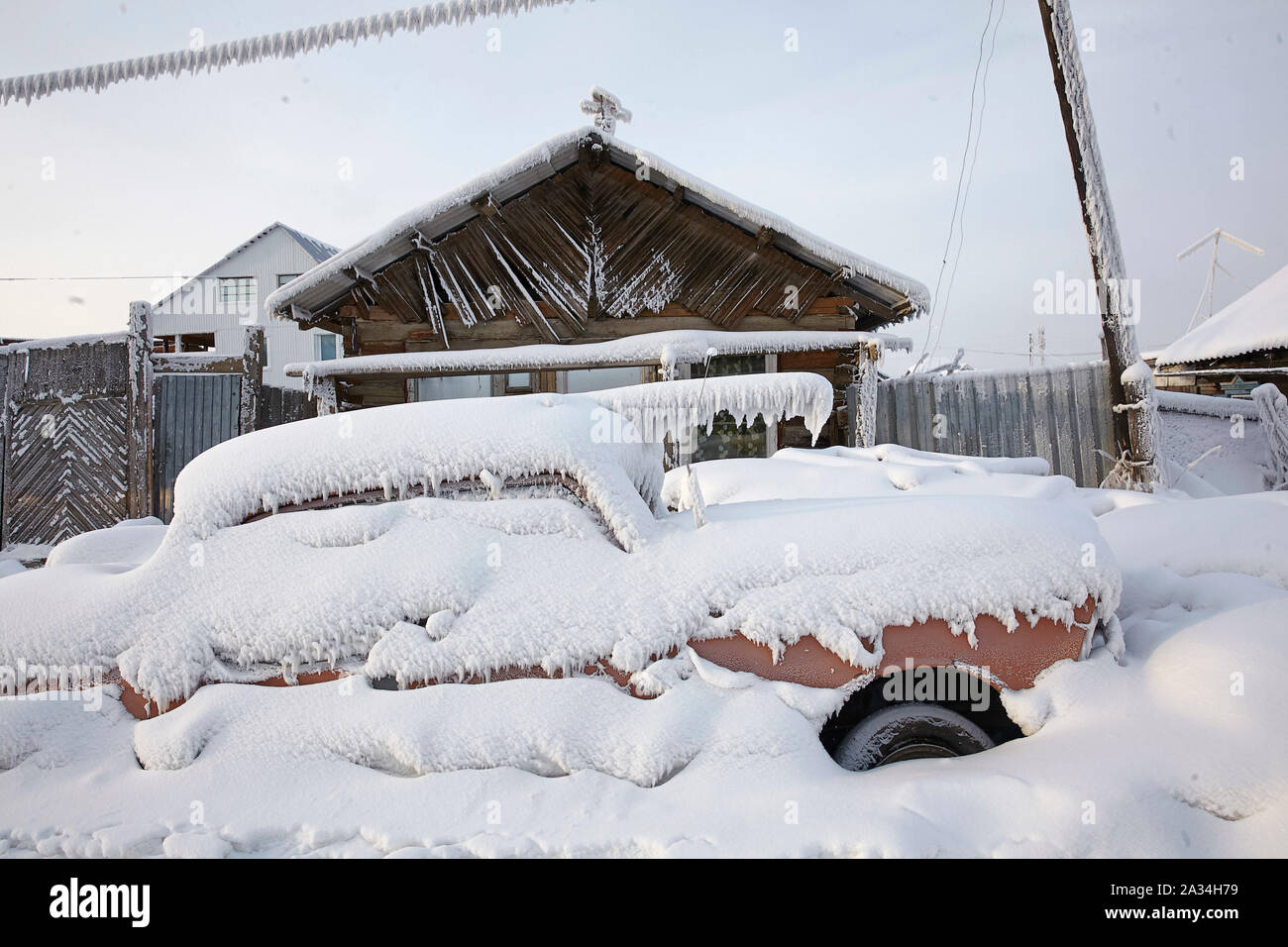 Russia Yakutsk Car covered by snow -43 degrees celcius 1-02-2013 photo: Jaco Klamer Stock Photo