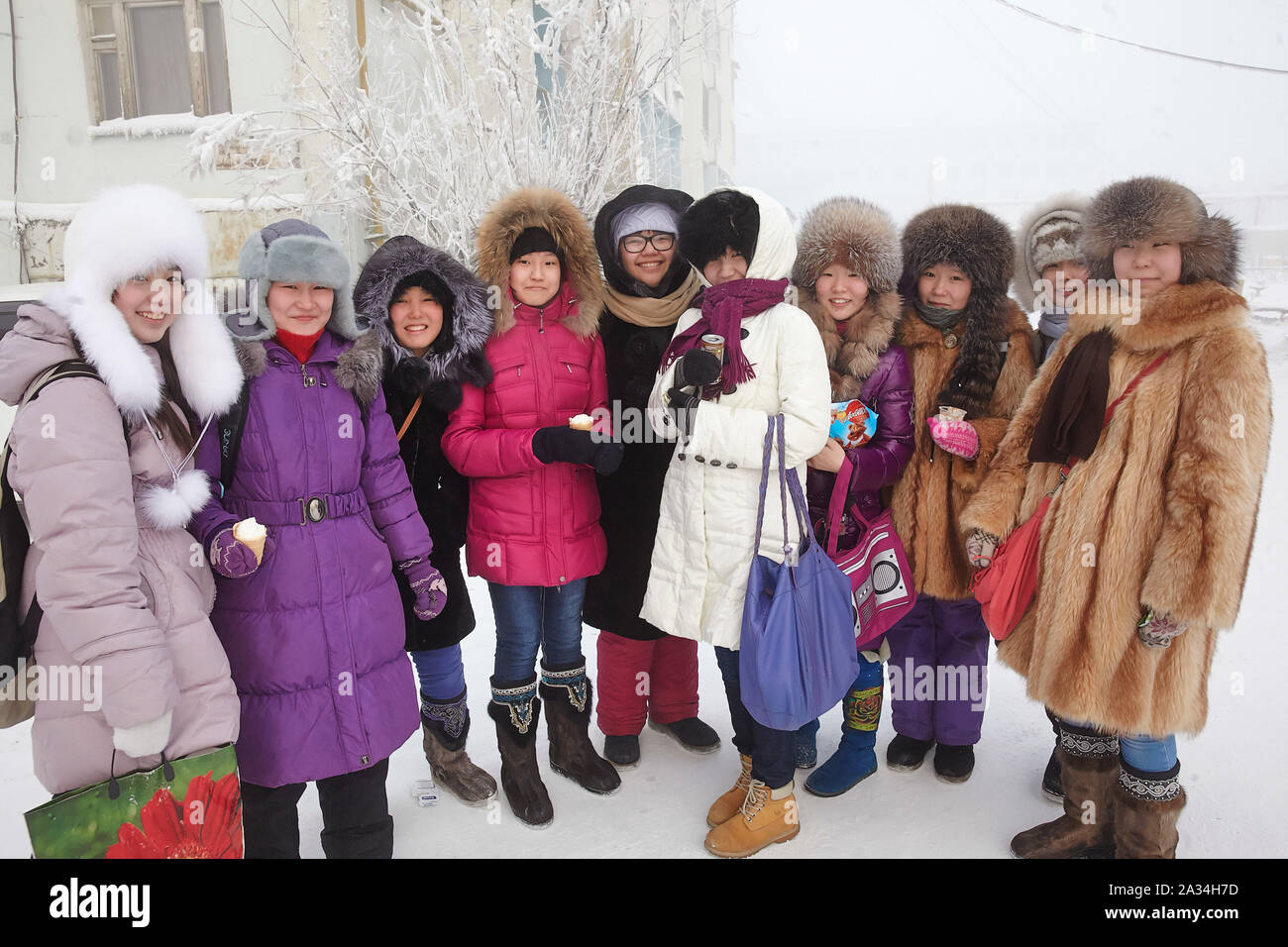 Russia Yakutsk Young people having fun in the cold -42 degrees Celcius 2-02-2013 photo: Jaco Klamer Stock Photo