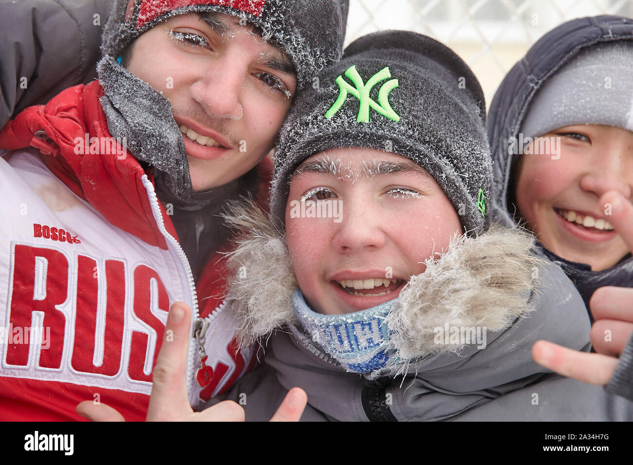 Russia Yakutsk Young people playing footbal -42 degrees Celcius 2-02-2013 photo: Jaco Klamer Stock Photo