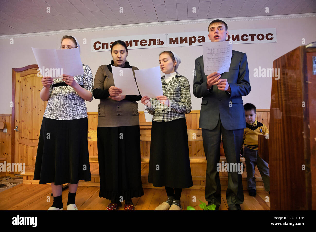 Russia Yakutsk Young people in the not registrated Baptish Church 2-02-2013 photo: Jaco Klamer Stock Photo