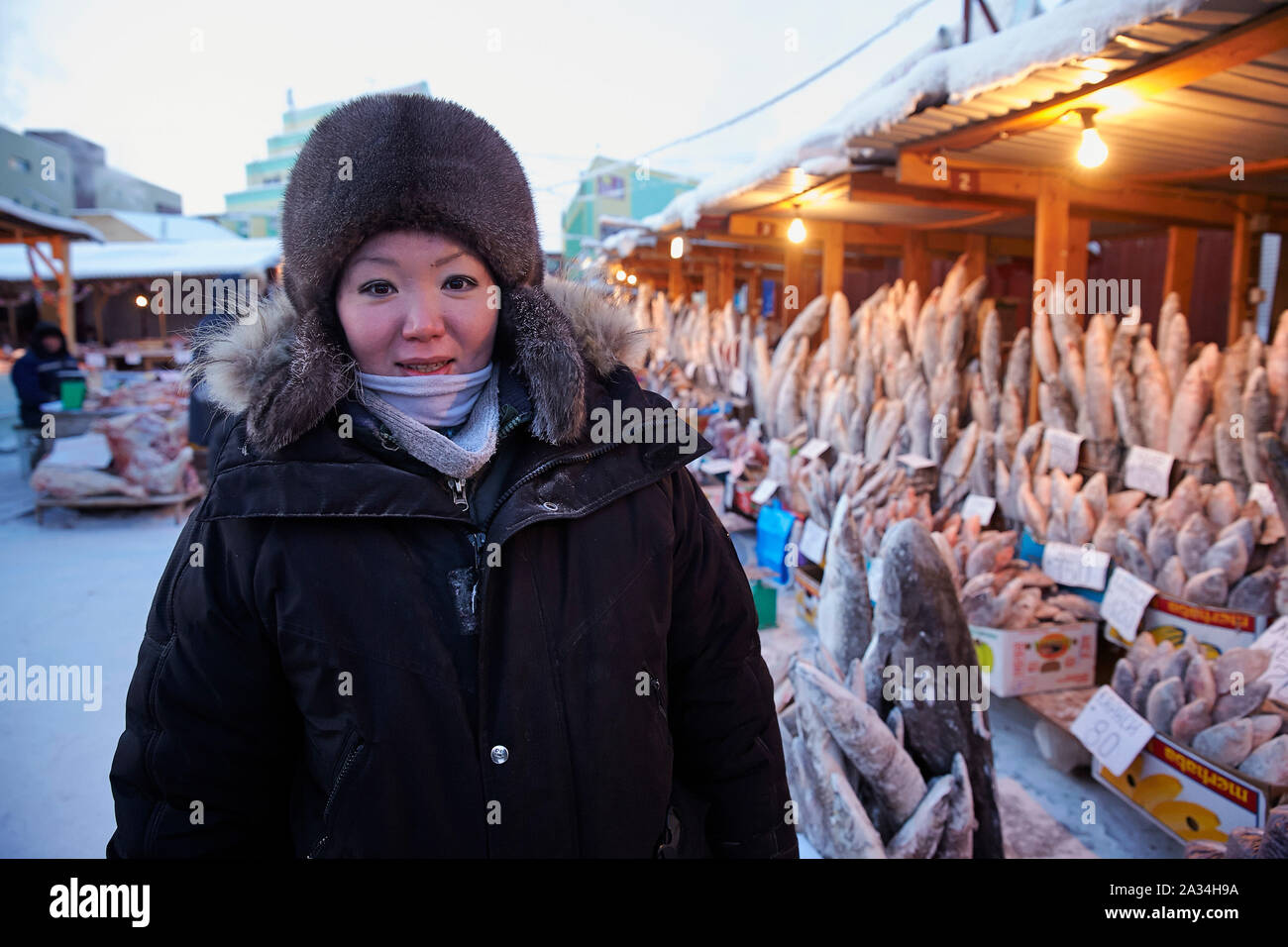 Russia Yakutsk Cold market minus 45 degrees celcius during the day, fish deep frost 5-02-2013 photo: Jaco Klamer Stock Photo