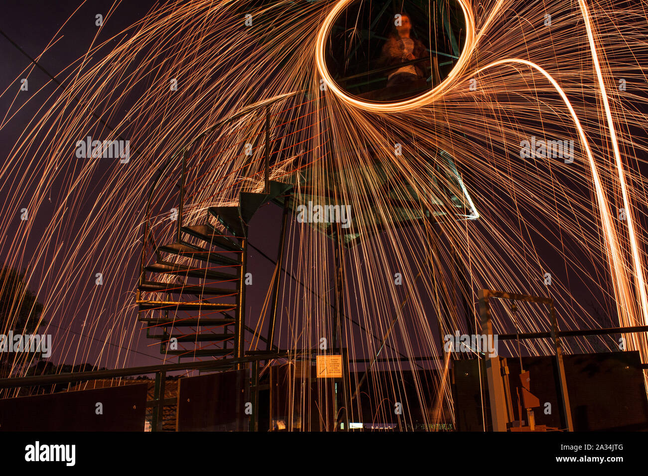 Steel wool long exposure Stock Photo