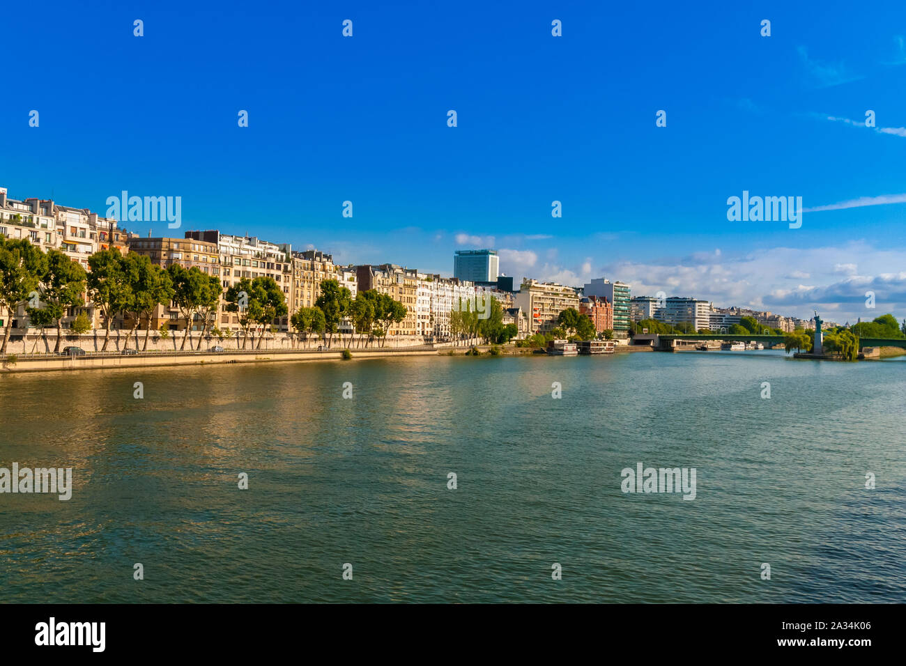 Beautiful panoramic view of the Quai Louis-Blériot, a quay alongside the Seine river in the 16th arrondissement of Paris, France on a nice day with a... Stock Photo