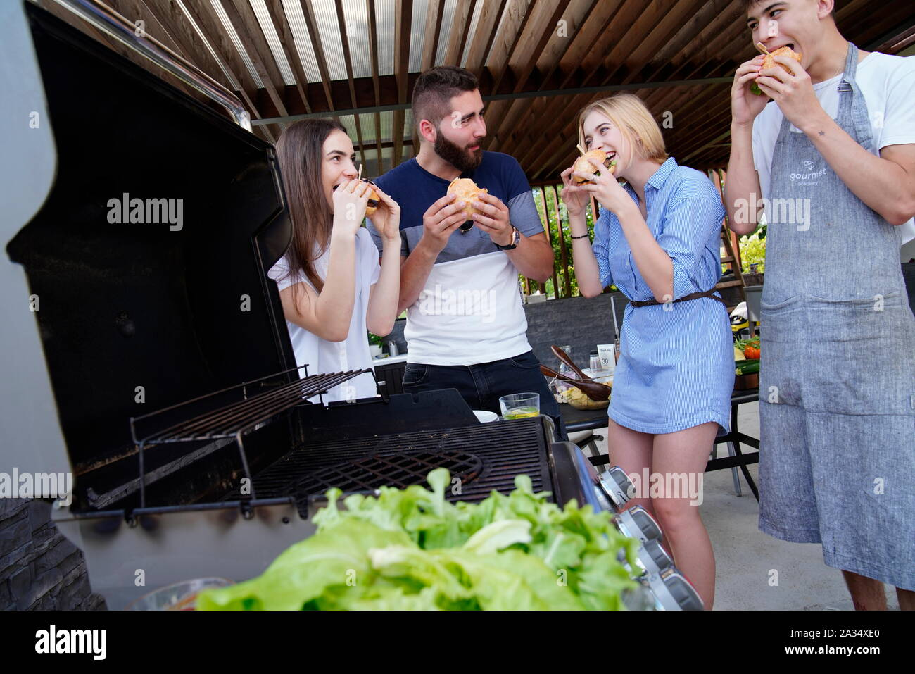 Young people at barbecues, Carlsbad, Czech Republic Stock Photo