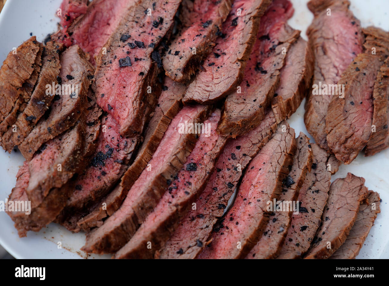 Detail of sliced grilled meat-grilled flank steak, Karlovy Vary, Czech Republic, Europe Stock Photo