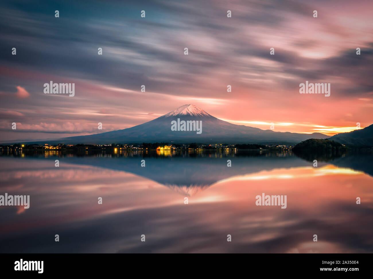 Landscape image of Mt. Fuji over Lake Kawaguchiko at sunset in Fujikawaguchiko, Japan. Stock Photo