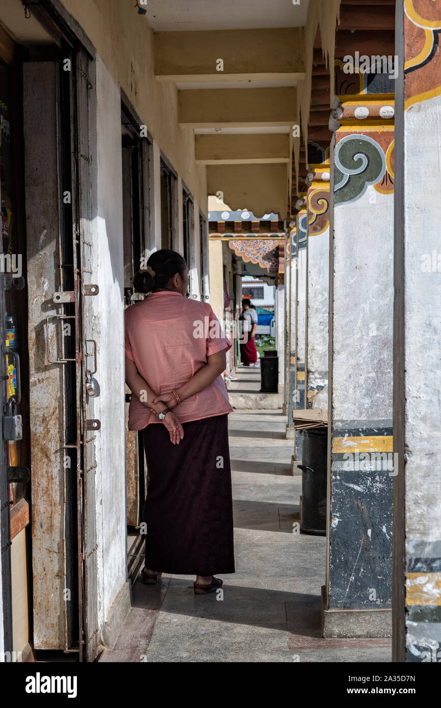 Alley of shops in a street of Paro, Bhutan Stock Photo