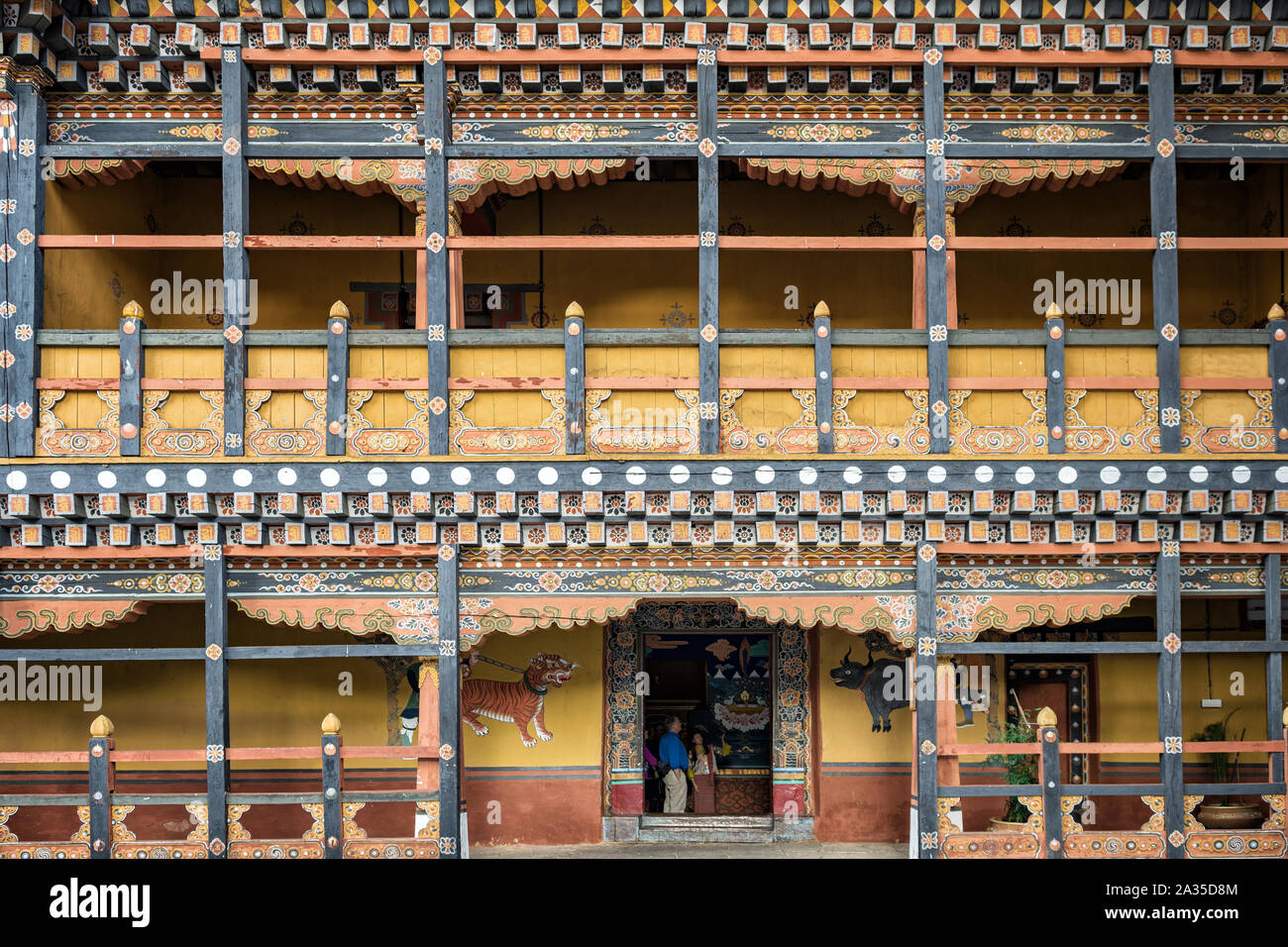 Richly decorated facade in the courtyard of the Paro dzong (Rinpung Dzong), Bhutan Stock Photo