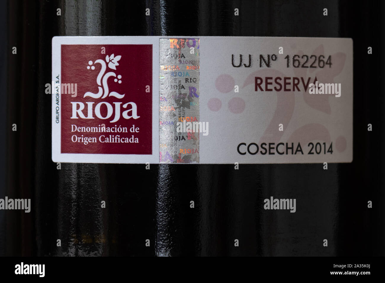 Rioja aging classification and wine quality assurance label on bottle of rioja reserva wine Stock Photo