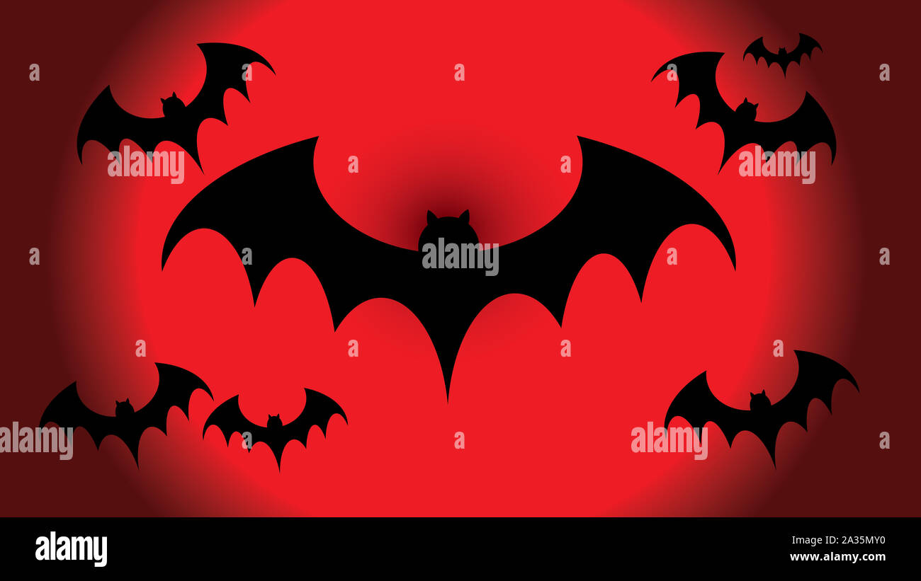 flying black bat silhouettes on red background scary halloween concept 2A35MY0