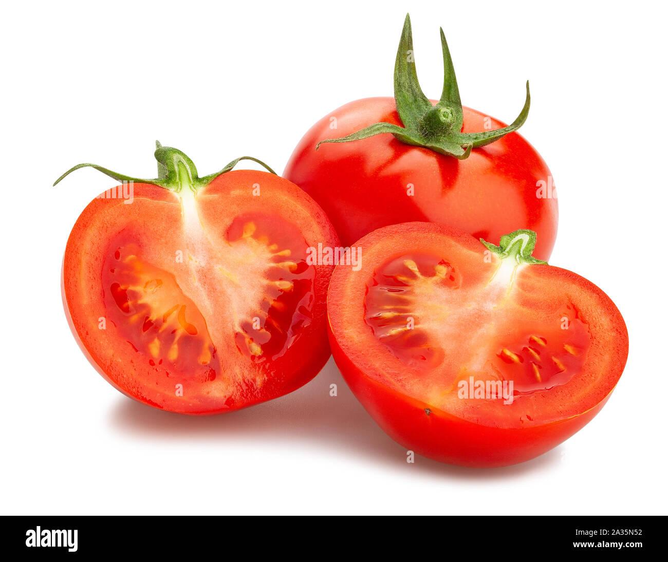 sliced tomato path isolated on white Stock Photo