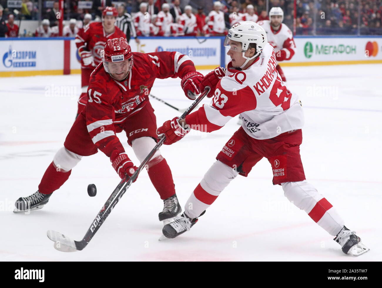 Moscow, Russia. 05th Oct, 2019. HC Vityaz Moscow Region's Jakub Jerabek (L) and HC Spartak Moscow's Alexander Khokhlachyov in action in their 2019/20 KHL Regular Season ice hockey match, at the Vityaz Arena. Sergei Fadeichev/TASS Credit: ITAR-TASS News Agency/Alamy Live News Credit: ITAR-TASS News Agency/Alamy Live News Stock Photo