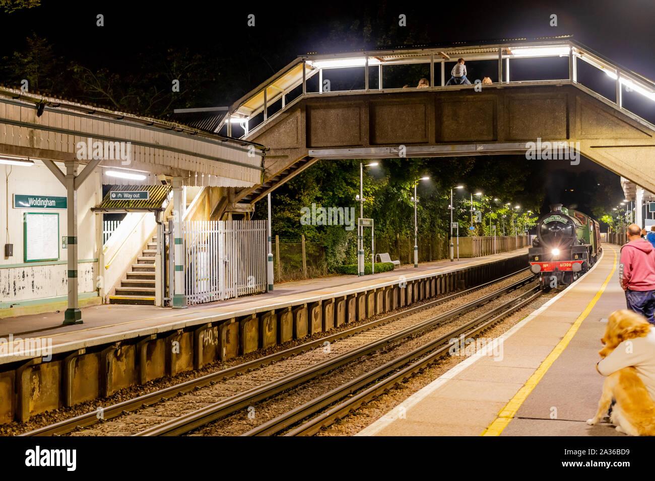 Green British Steam Train Surrey Autumn Stock Photo