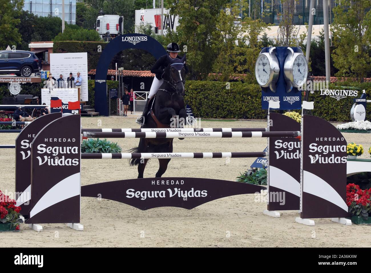 Barcelona, Spain. 05th Oct, 2019. Professional jockey from Sweden Stephanie Holman participates during the Queen's Cup - Segura Widows Trophy Longines FEI Jumping Nations Cup Final in Barcelona. Credit: SOPA Images Limited/Alamy Live News Stock Photo