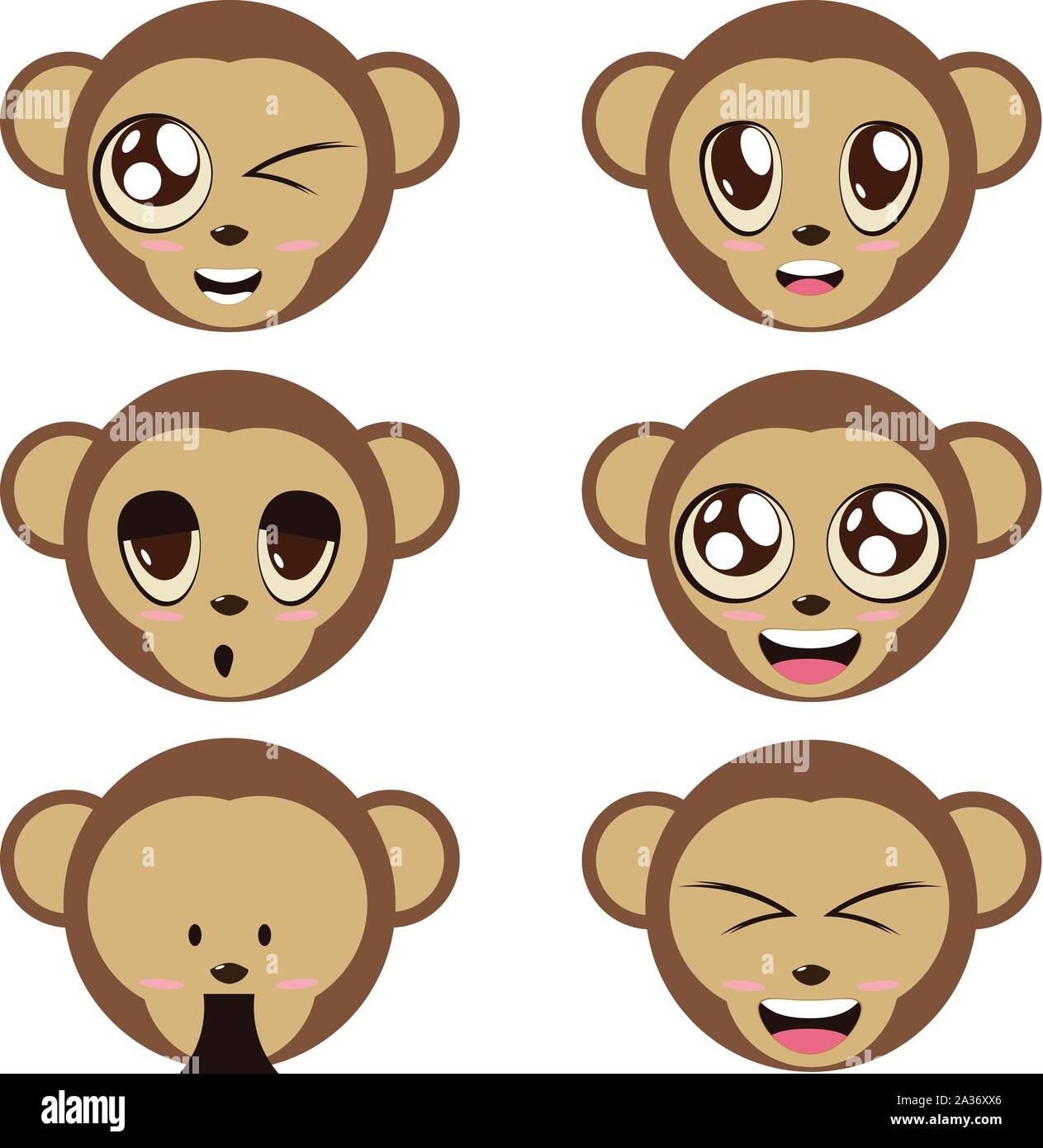 Illustration Of A Cute Cartoon Monkeys Face In Various Emotions Stock Vector Image Art Alamy