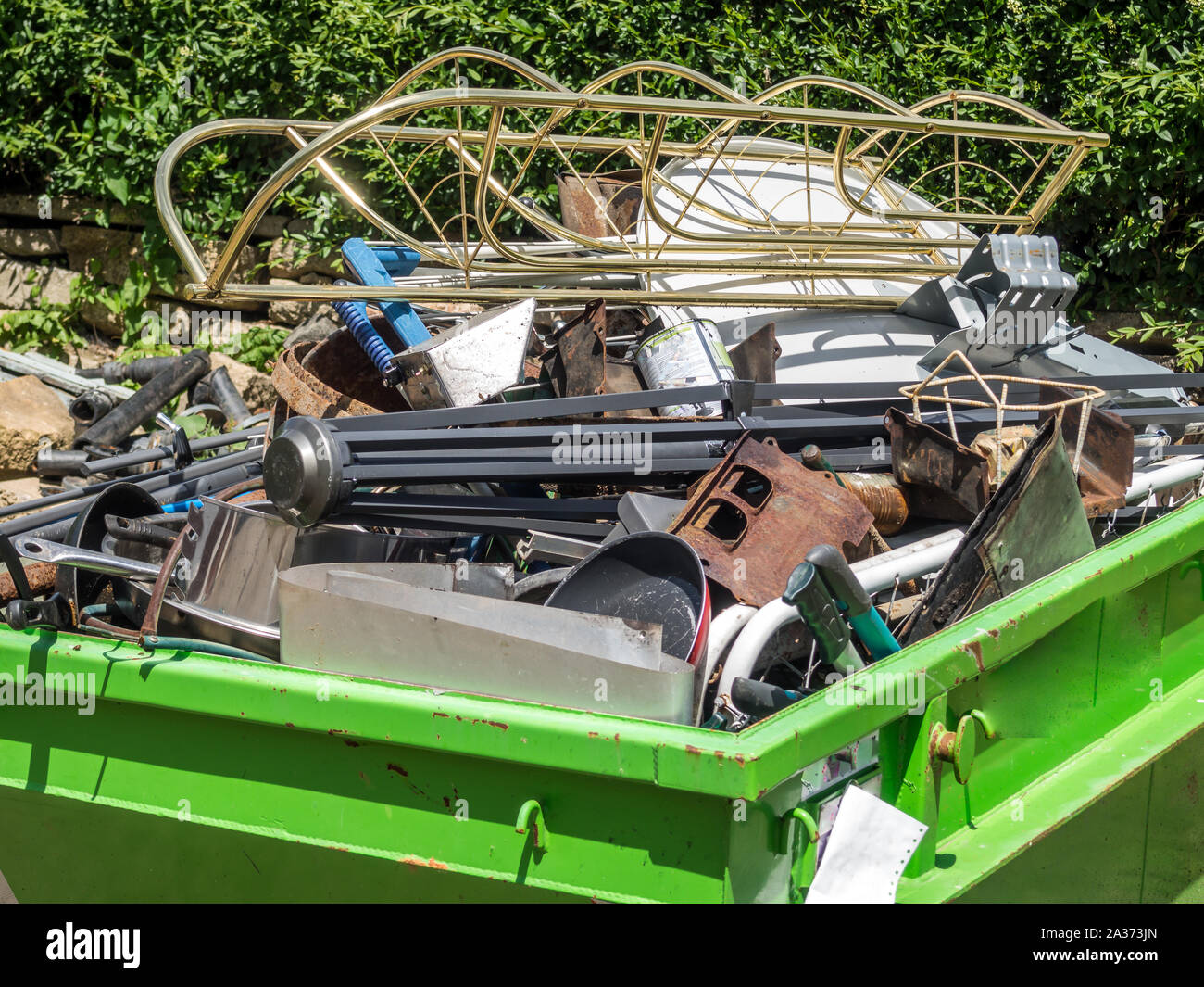 Scrap metal containers Stock Photo