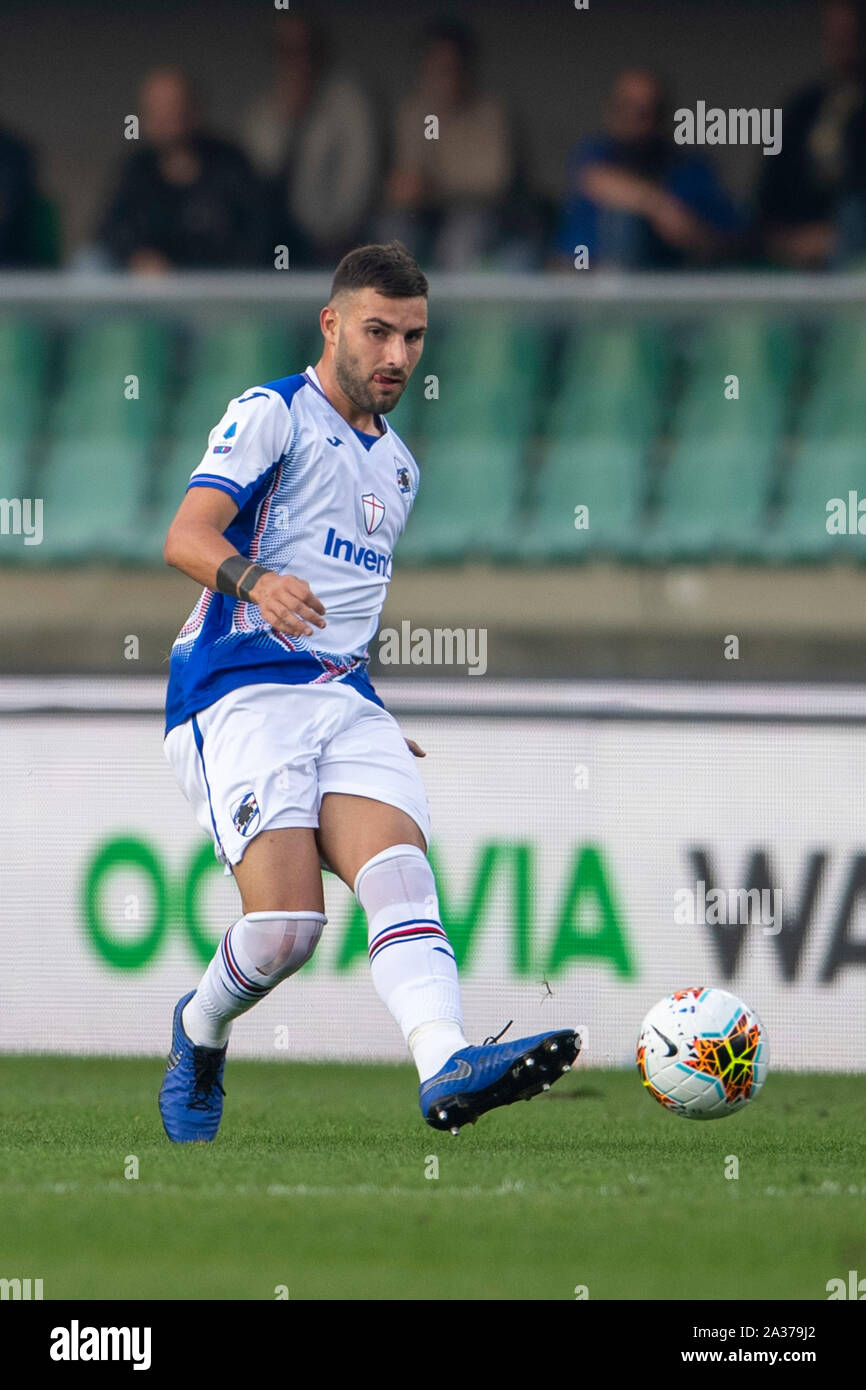"Nicola Murru (Sampdoria)                                     during the Italian ""Serie A"" match between Hellas Verona 2-0 Sampdoria at Marcantonio Bentegodi Stadium on October 05 , 2019 in Verona, Italy. (Photo by Maurizio Borsari/AFLO) Stock Photo"