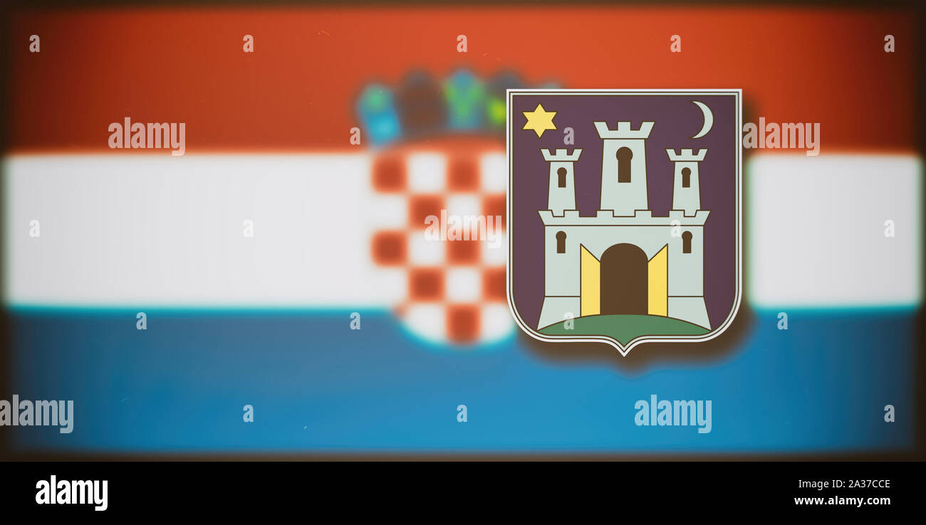 The Coat Of Arms Of Zagreb On The Blurred Flag Of Croatia In The Background Stock Photo Alamy