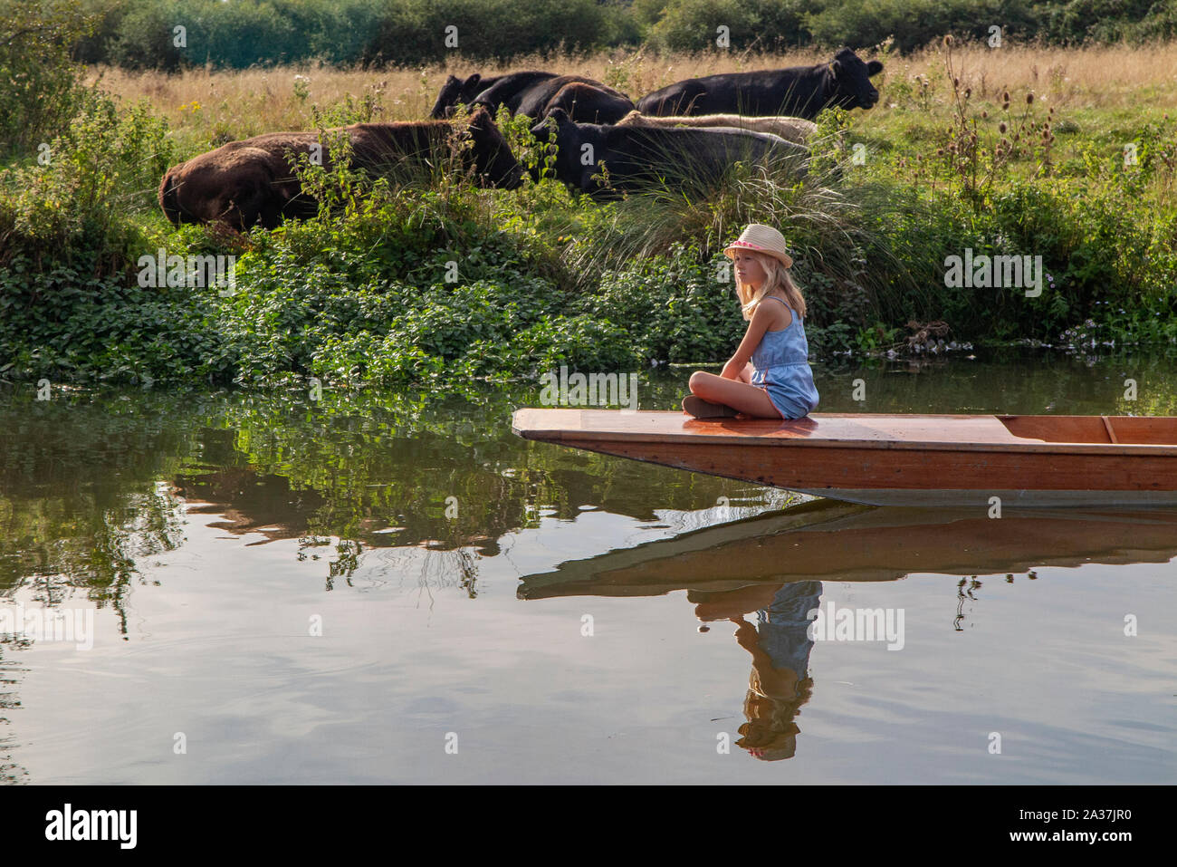 A pretty girl sits on the bow of a punt on the River Cherwell in Oxford, Oxfordshire Stock Photo