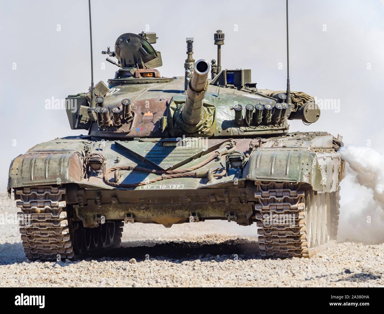 Slovenian armed forces M84 tank driving demonstration in Pivka Slovenia isolated from background Stock Photo