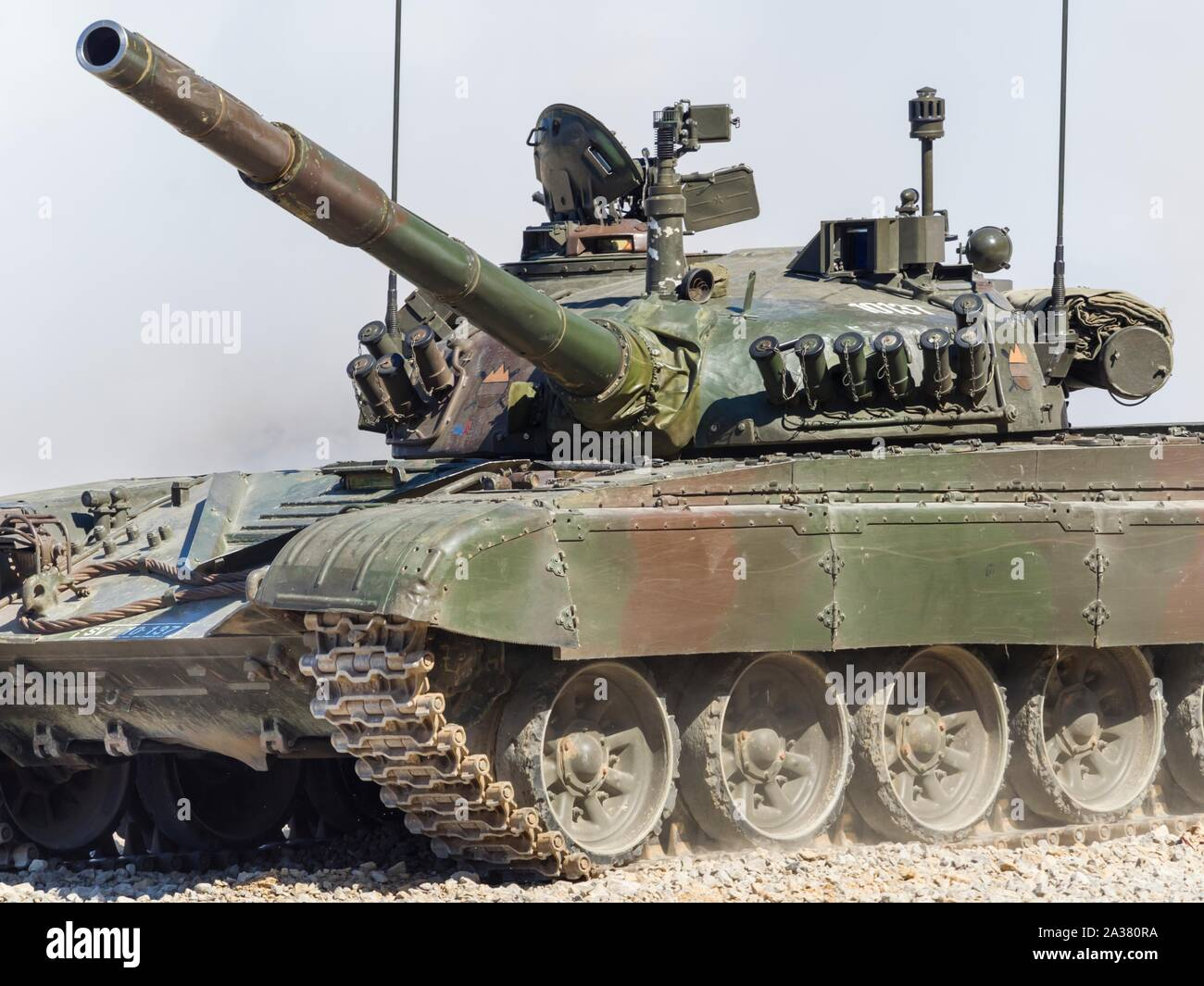 Slovenian armed forces M84 tank driving demonstration in Pivka Slovenia Stock Photo