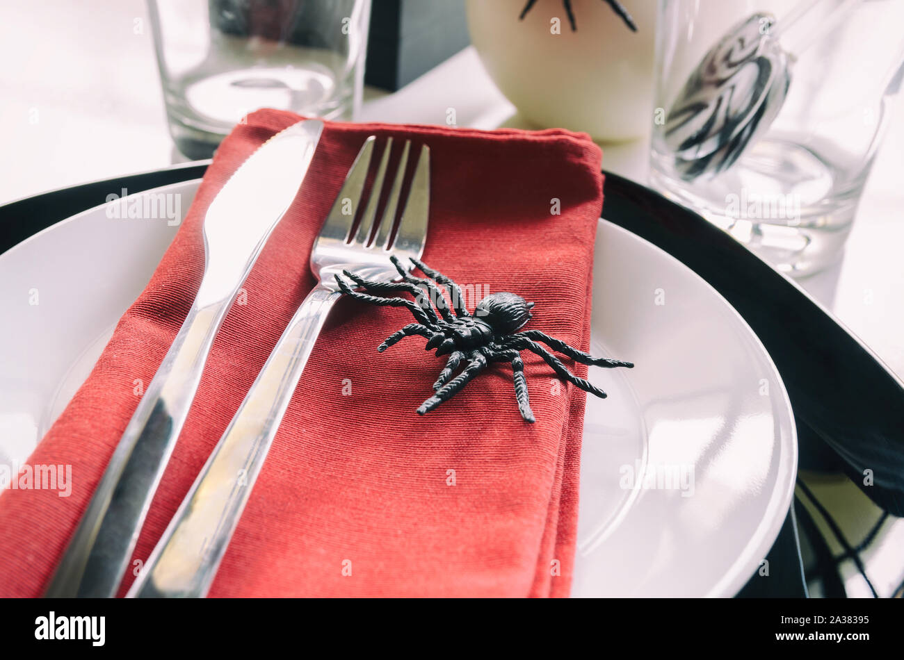 Close Up Of Halloween Table Settings In Red Black Colors With Typical Symbol Spider Halloween Party Concept Stock Photo Alamy