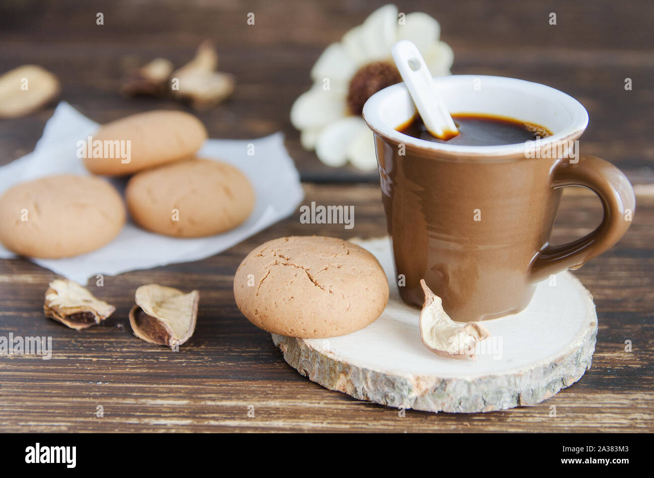 Cup Of Black Coffee And Almond Cookies And Fall Leaves On Wooden Table Delicious Beverage For Cold Autumn Season Good Morning Concept Stock Photo Alamy