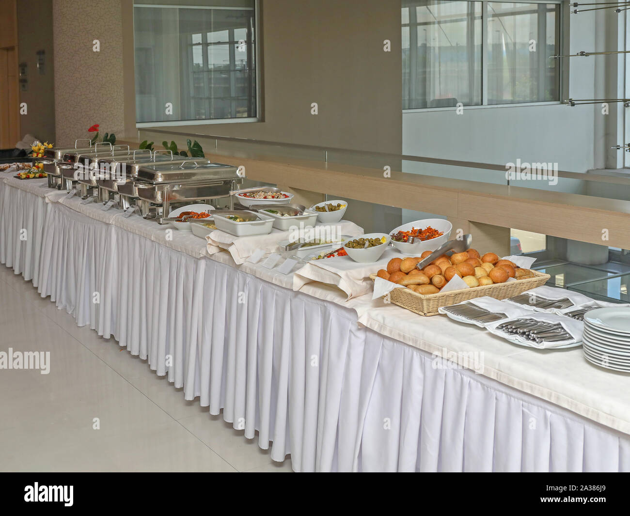 Picture of: Served Food At Big Long Buffet Table Stock Photo Alamy