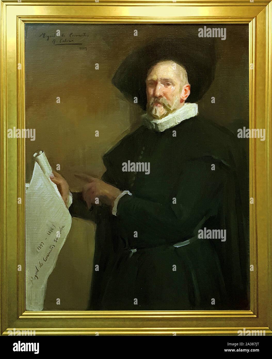 Miguel de Cervantes / Museo Nacional del Teatro de Almagro / Obra del pintor Alejandro Cabeza Stock Photo