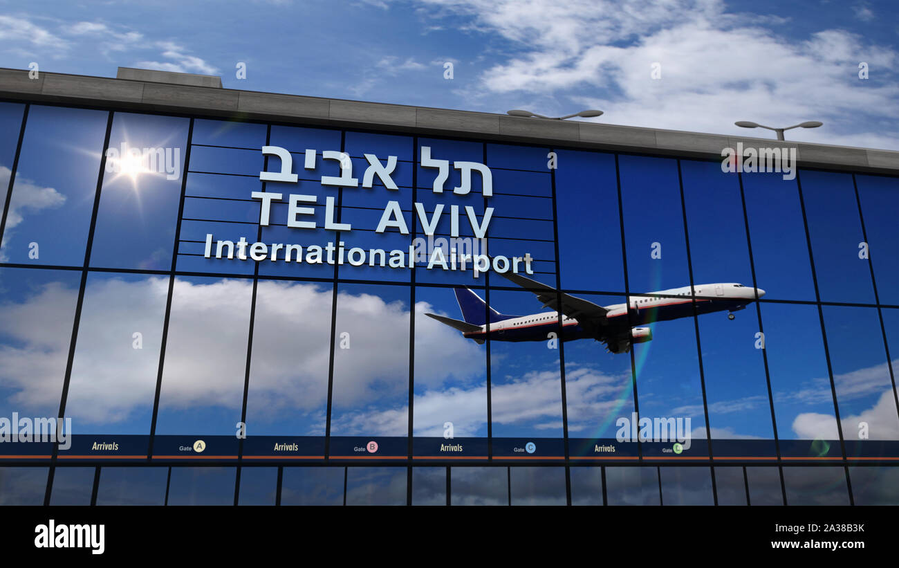 Jet Aircraft Landing At Tel Aviv Israel 3d Rendering Illustration Arrival In The City With The Glass Airport Terminal And Reflection Of The Plane T Stock Photo Alamy