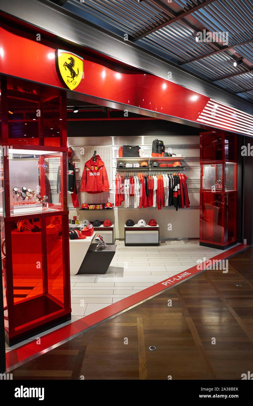 VENICE, ITALY - CIRCA MAY, 2019: entrance to Ferrari Store in Venice Marco Polo Airport. Stock Photo